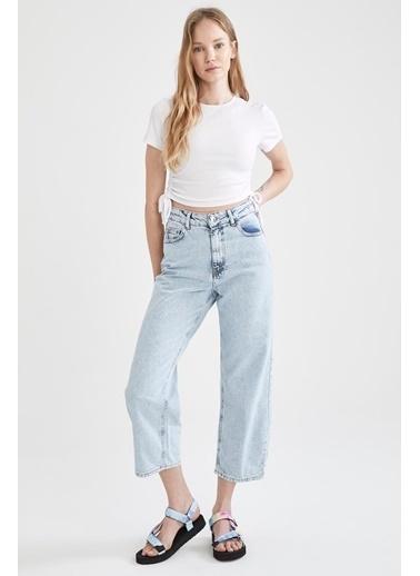 DeFacto Culotte Yüksek Belli Crop Jean Pantolon Mavi